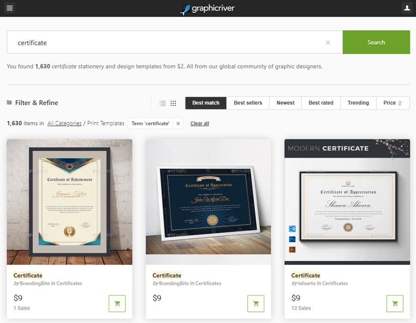 GraphicRiver Certificate Template Downloads