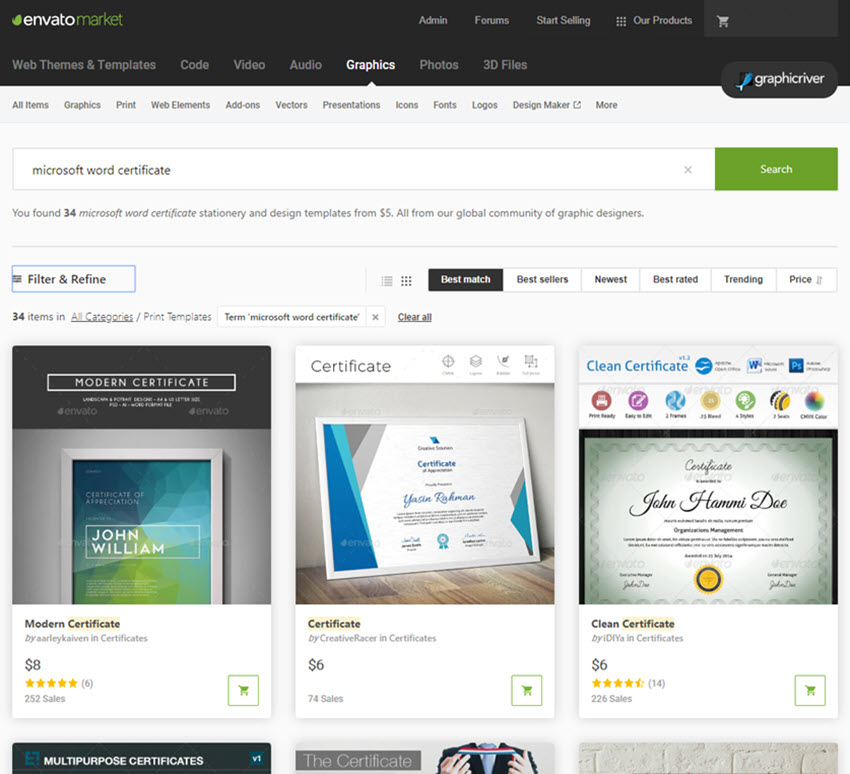 certificate templates on GraphicRiver