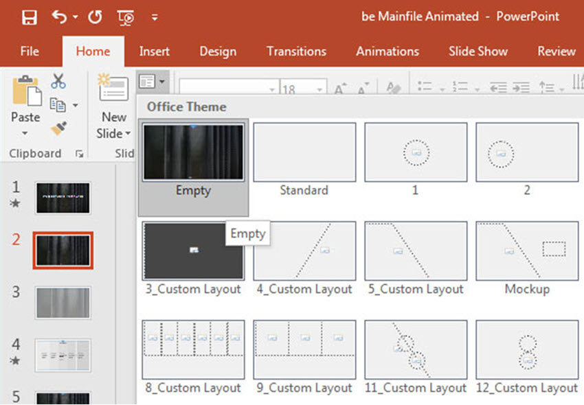 Layout with background image in PowerPoint