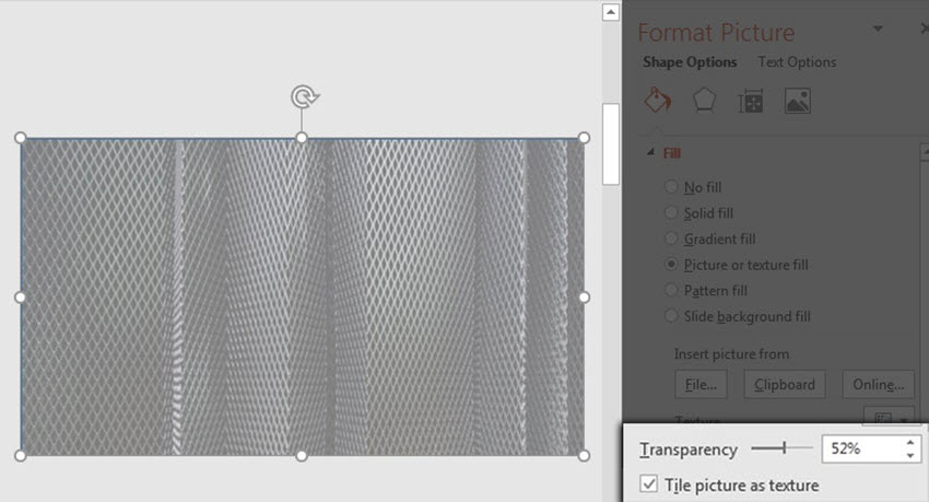 Control the Image transparency in PowerPoint