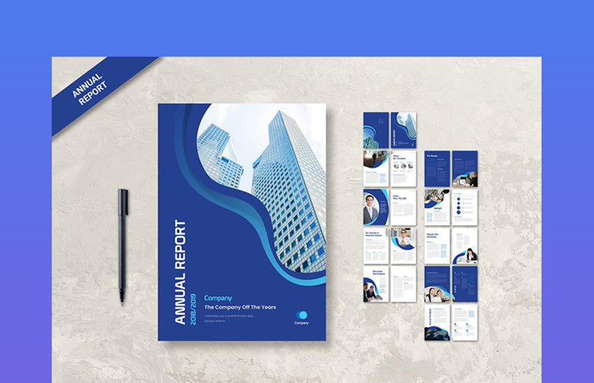 Blue Annual Report Template Design