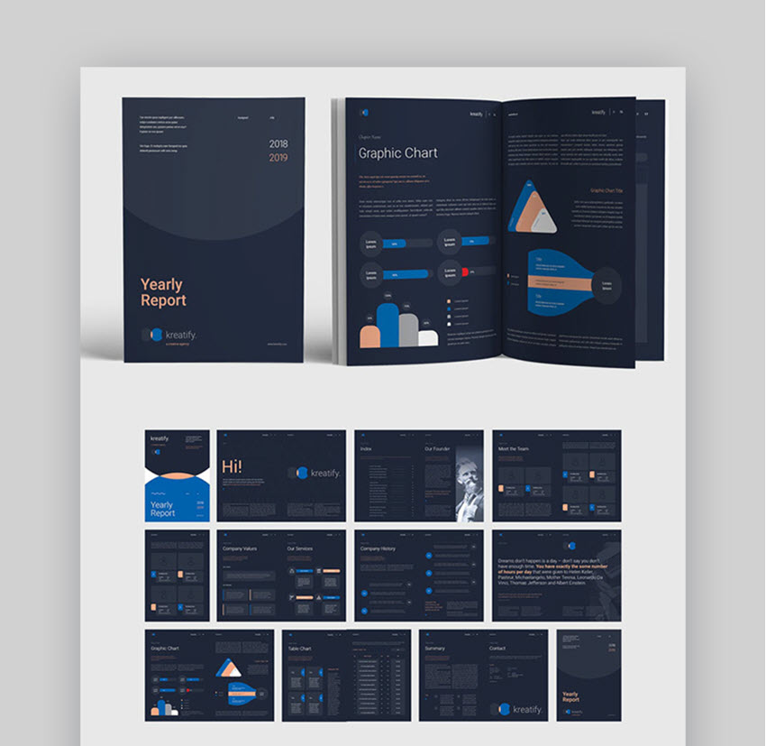 Dark Annual Report Design Layout
