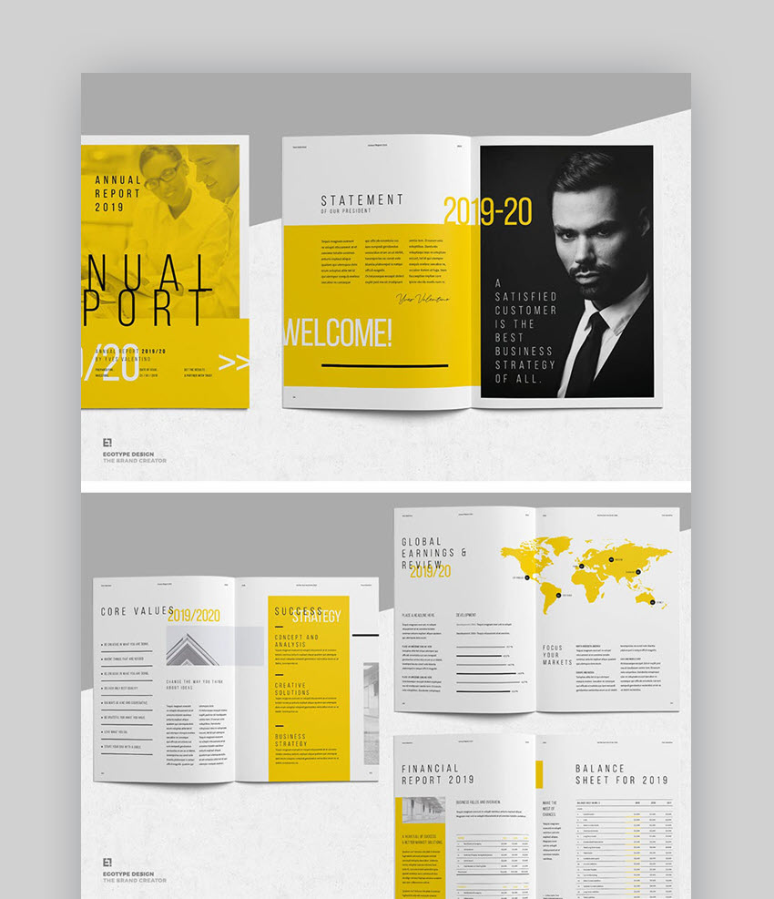 Stylish Annual Report Template Design