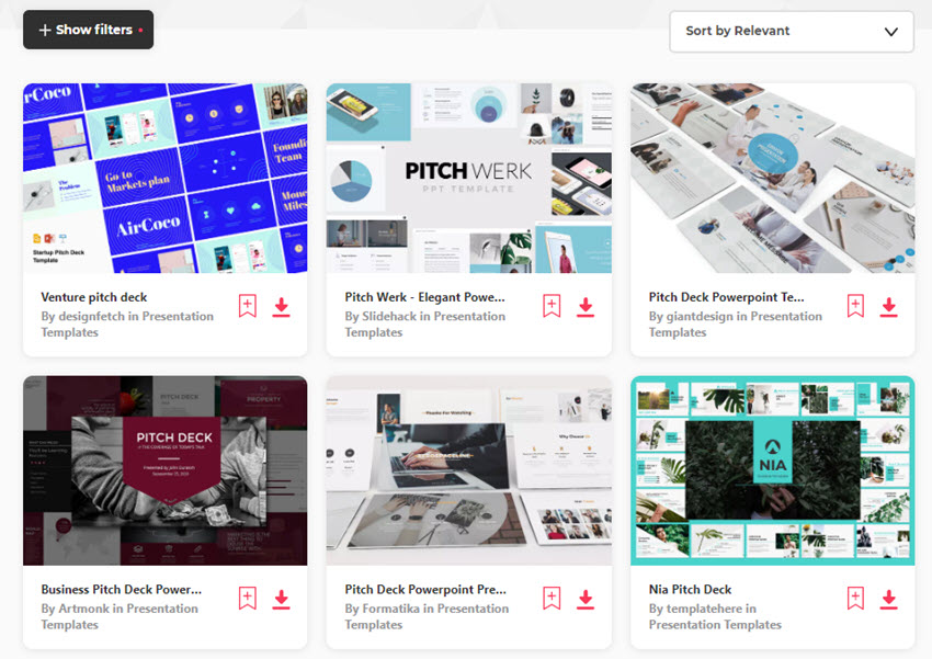 PPT Pitch Deck Templates from Elements