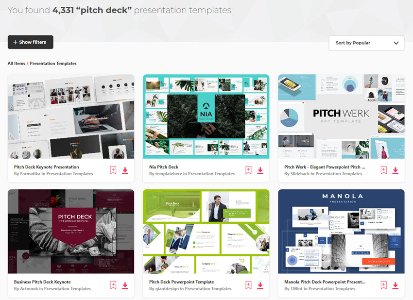 Envato Elements Ptich Deck Templates