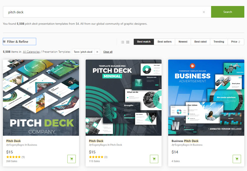 GraphicRiver pitch deck templates