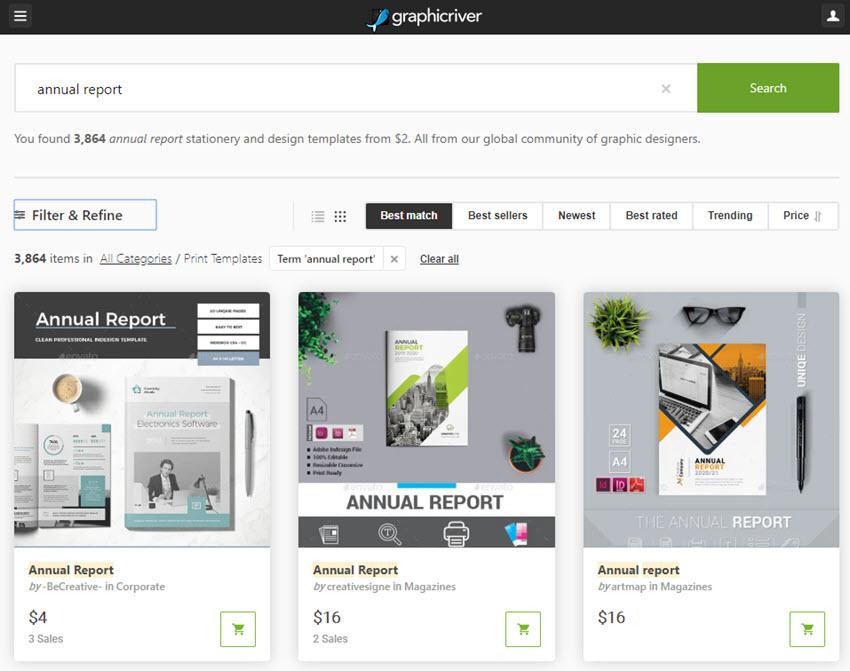 annual reports on GraphicRiver
