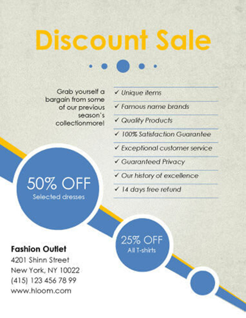 Free Printable Flyer Design Template Discount Sale