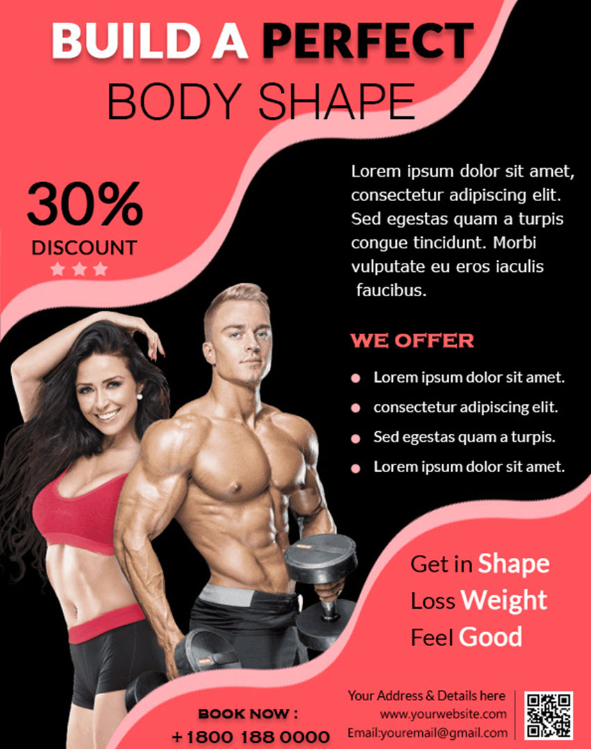 Free Printable Flyer Design Template Fitness center promotional