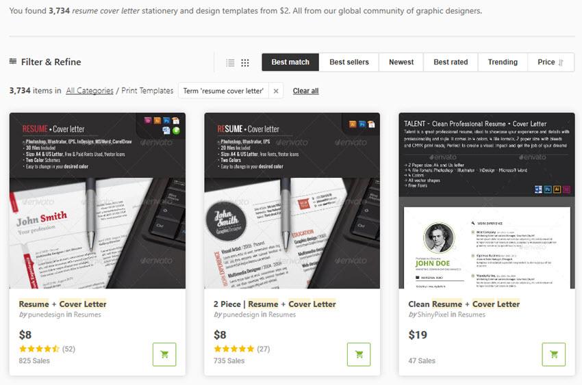 GraphicRiver Premium Cover Letter Templates