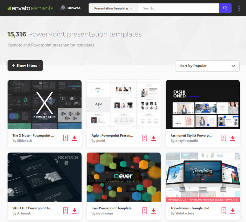 Thousands of top PowerPoint presentation design templates on Envato Elements