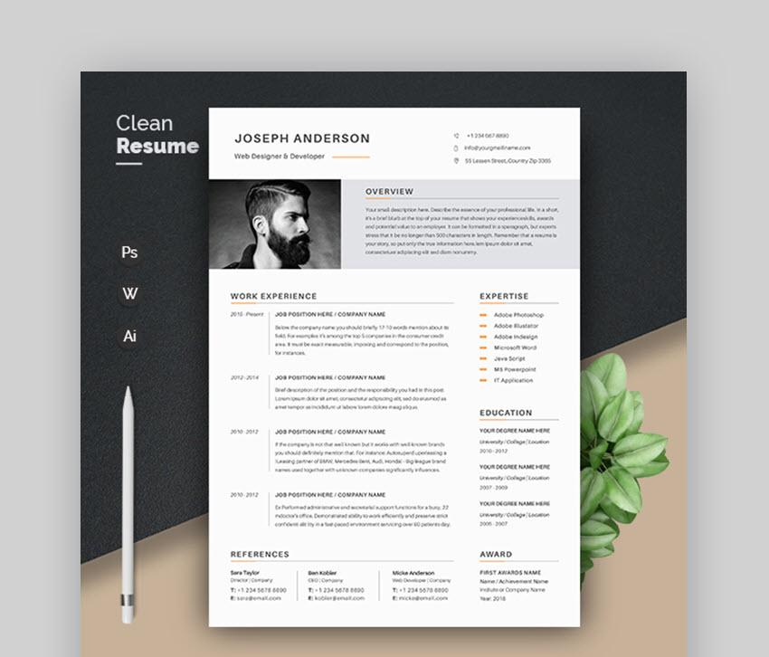 29 Modern Resume Templates With Clean Elegant Cv Designs 2020