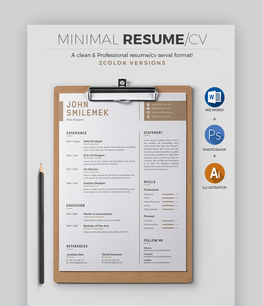 30 Best Job Resume Templates With Simple Professional Examples 2020