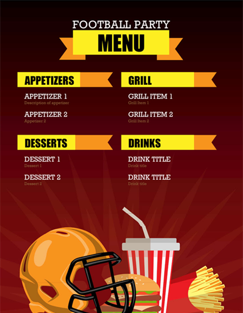 Free Football Party Menu