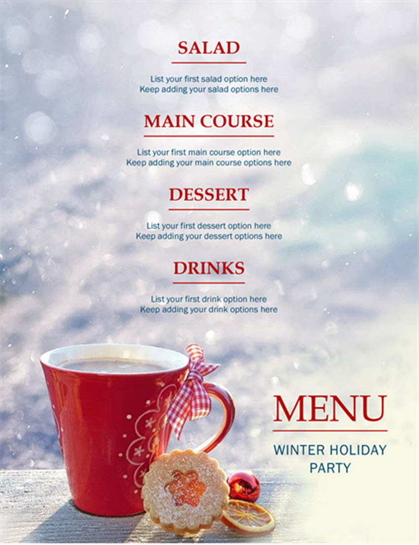 Free Winter Holiday Party Menu